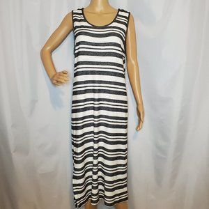 Matty M Grey and White Striped Maxi Dress